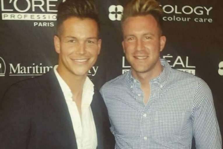 Blake Caissie, with fiancee Alex Beattie, says the couple feels 'it is now our duty to be even more proud of who we are as gay men.'